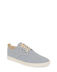 dunkelblaue und weiße Segeltuch niedrige Sneakers