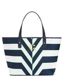 dunkelblaue und weiße Shopper Tasche aus Leder