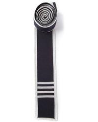 dunkelblaue und weiße Strick Krawatte von Thom Browne