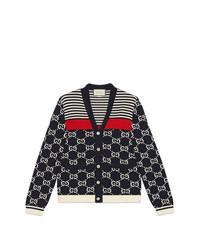 dunkelblaue und weiße Strickjacke von Gucci