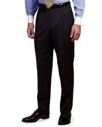 dunkelblaue und weiße vertikal gestreifte Anzughose