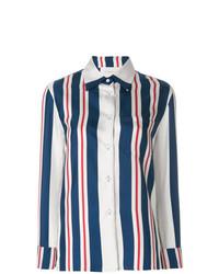 dunkelblaue und weiße vertikal gestreifte Bluse mit Knöpfen von La Doublej