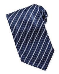 dunkelblaue und weiße vertikal gestreifte Krawatte
