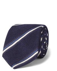 dunkelblaue und weiße vertikal gestreifte Krawatte von Canali
