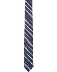 dunkelblaue und weiße vertikal gestreifte Krawatte von Thom Browne