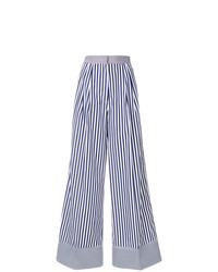dunkelblaue und weiße vertikal gestreifte weite Hose von Rossella Jardini