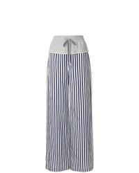 dunkelblaue und weiße vertikal gestreifte weite Hose von T by Alexander Wang