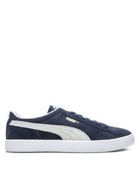 dunkelblaue und weiße Wildleder niedrige Sneakers von Puma
