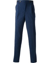 dunkelblaue vertikal gestreifte Anzughose