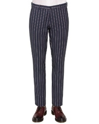 dunkelblaue vertikal gestreifte Anzughose von CG - Club of Gents