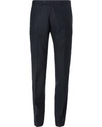 dunkelblaue vertikal gestreifte Anzughose von Dries Van Noten