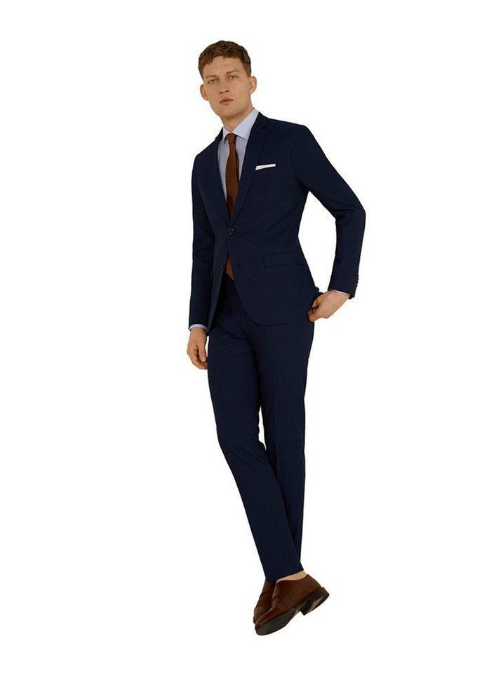 dunkelblaue vertikal gestreifte Anzughose von Mango Man