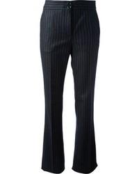 dunkelblaue vertikal gestreifte Anzughose von Moschino