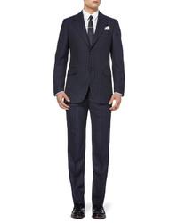 dunkelblaue vertikal gestreifte Anzughose von Alexander McQueen