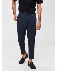 dunkelblaue vertikal gestreifte Anzughose von Selected Homme
