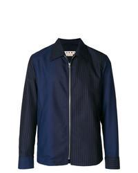 dunkelblaue vertikal gestreifte Shirtjacke