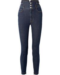 dunkelblaue verzierte Jeans von Dolce & Gabbana