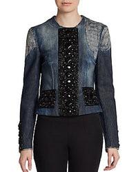 dunkelblaue verzierte Jeansjacke