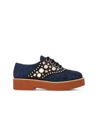 dunkelblaue verzierte Leder Oxford Schuhe von Miu Miu