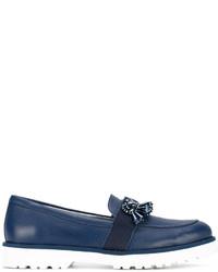 dunkelblaue verzierte Leder Slipper von Hogan