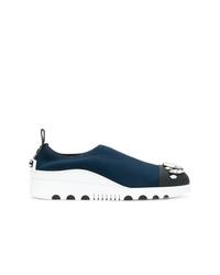 dunkelblaue verzierte Slip-On Sneakers von Miu Miu