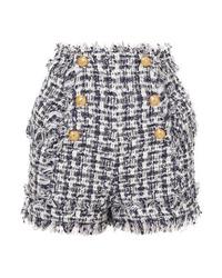 dunkelblaue verzierte Tweed Shorts von Balmain