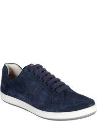 dunkelblaue Wildleder niedrige Sneakers