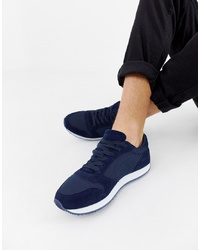 dunkelblaue Wildleder niedrige Sneakers von ASOS DESIGN