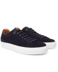 dunkelblaue Wildleder niedrige Sneakers von Hugo Boss