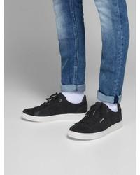 dunkelblaue Wildleder niedrige Sneakers von Jack & Jones