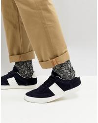 dunkelblaue Wildleder niedrige Sneakers von Kurt Geiger London