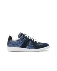 dunkelblaue Wildleder niedrige Sneakers von Maison Margiela