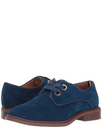 dunkelblaue Wildleder Oxford Schuhe