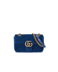 dunkelblaue Wildleder Umhängetasche von Gucci