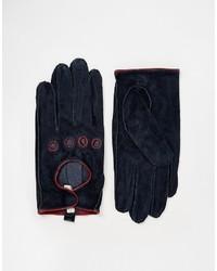 dunkelblaue Wildlederhandschuhe von Pieces