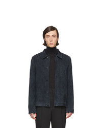 dunkelblaue Shirtjacke aus Wildleder von AMI Alexandre Mattiussi