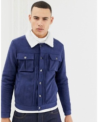 dunkelblaue Shirtjacke aus Wildleder von Another Influence
