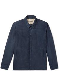 dunkelblaue Shirtjacke aus Wildleder von Loro Piana