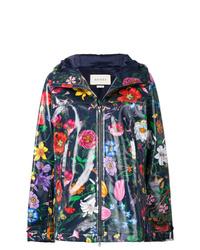 dunkelblaue Windjacke mit Blumenmuster von Gucci