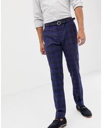 dunkelblaue Wollanzughose mit Schottenmuster von Twisted Tailor