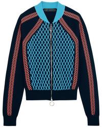 dunkelblaue Wollbomberjacke von Versace