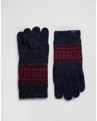 dunkelblaue Wollhandschuhe mit Norwegermuster von Jack Wills