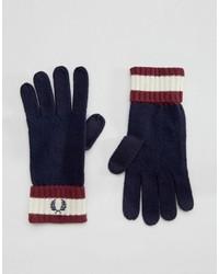 dunkelblaue Wollhandschuhe von Fred Perry