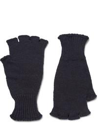 dunkelblaue Wollhandschuhe von Margaret Howell