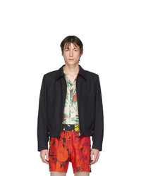 dunkelblaue Wollharrington-jacke von Dries Van Noten