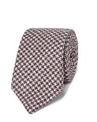 dunkelblaue Wollkrawatte mit Hahnentritt-Muster von Brunello Cucinelli