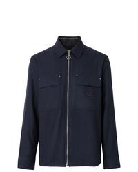 dunkelblaue Wollshirtjacke von Burberry