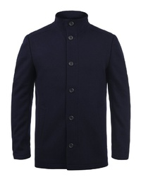 dunkelblaue Wollshirtjacke von Jack & Jones
