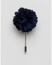 dunkelblauer Anstecknadel mit Blumenmuster