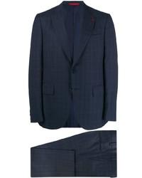 dunkelblauer Anzug mit Karomuster von Isaia